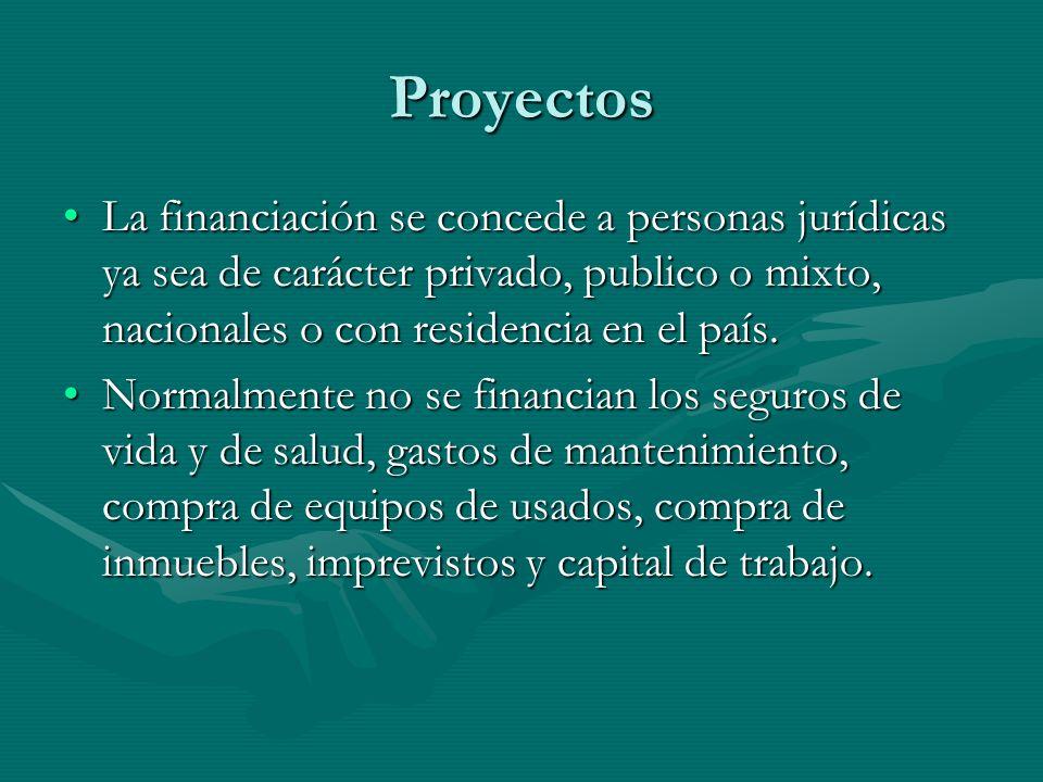ProyectosLa financiación se concede a personas jurídicas ya sea de carácter privado, publico o mixto, nacionales o con residencia en el país.
