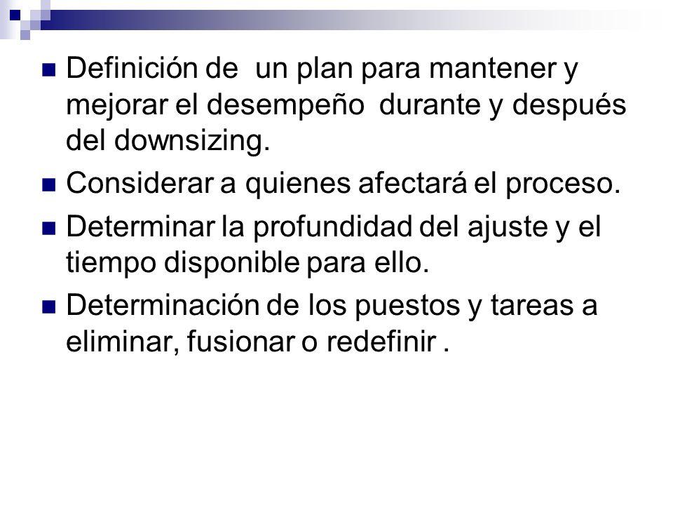 Definición de un plan para mantener y mejorar el desempeño durante y después del downsizing.
