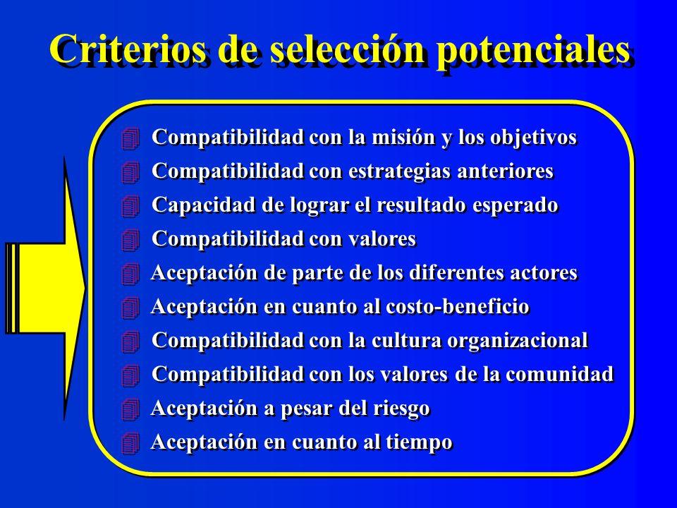 Criterios de selección potenciales