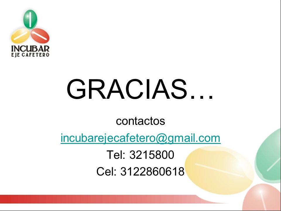 GRACIAS… contactos incubarejecafetero@gmail.com Tel: 3215800