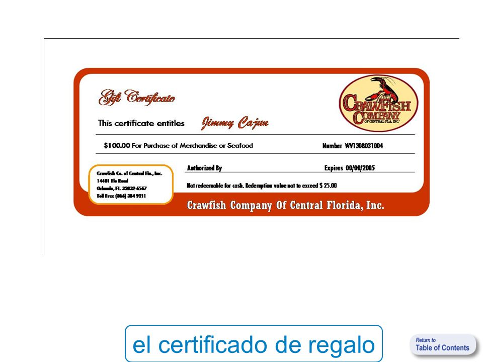 el certificado de regalo
