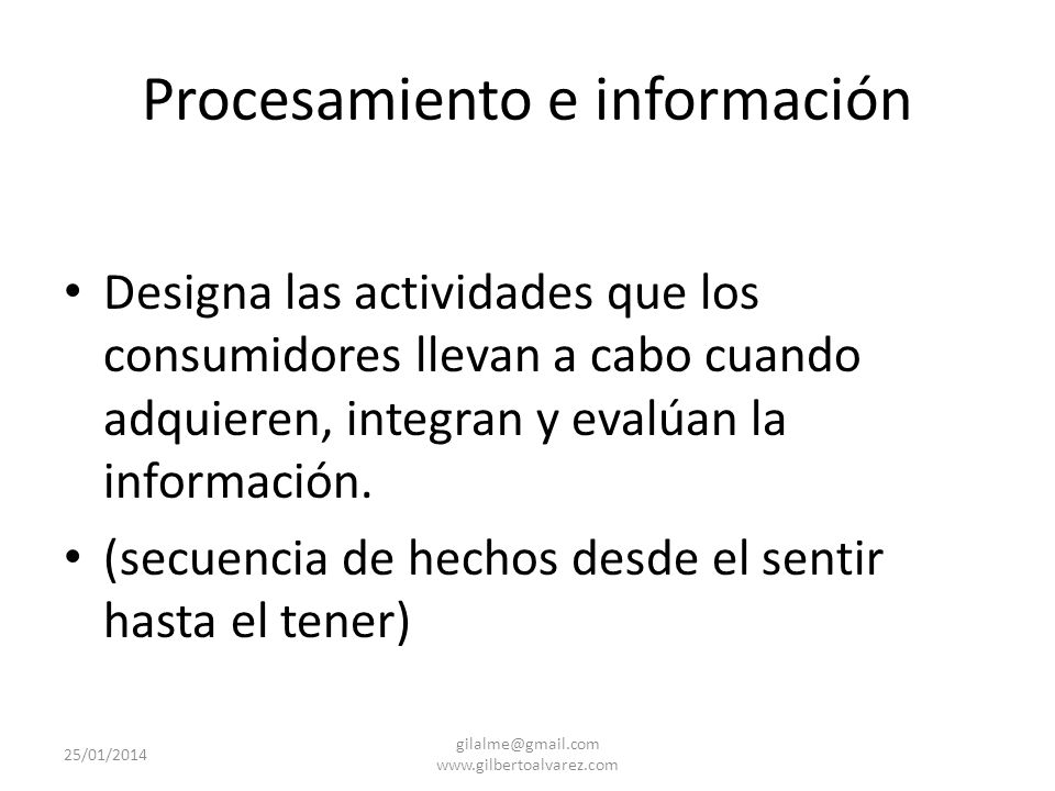 Procesamiento e información