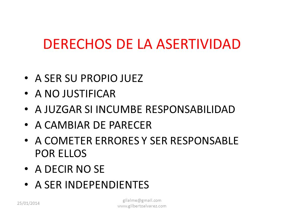 DERECHOS DE LA ASERTIVIDAD