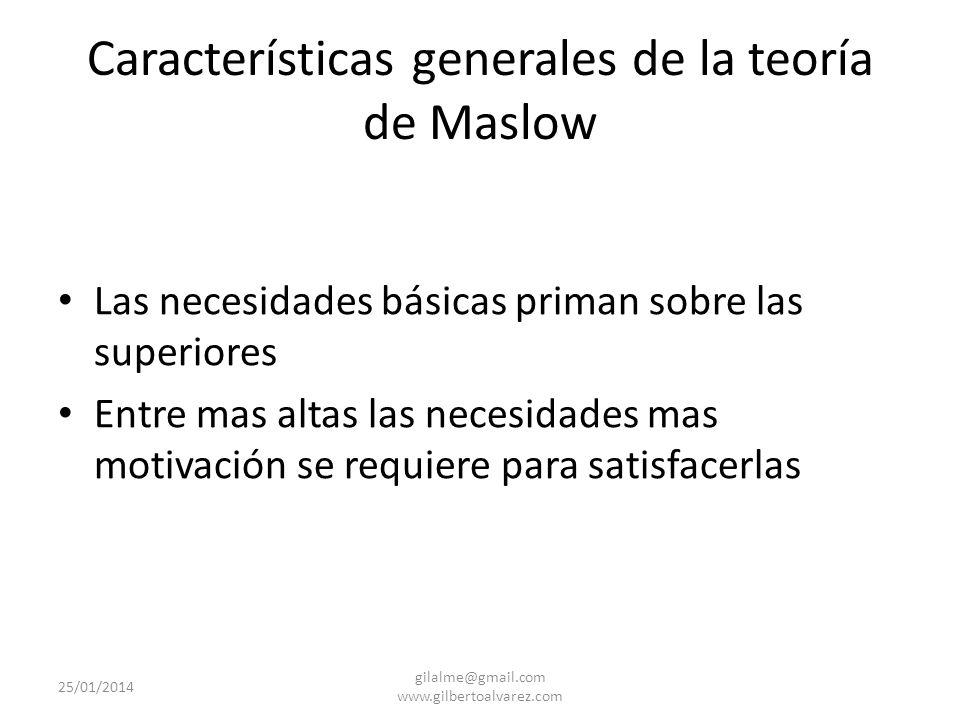Características generales de la teoría de Maslow