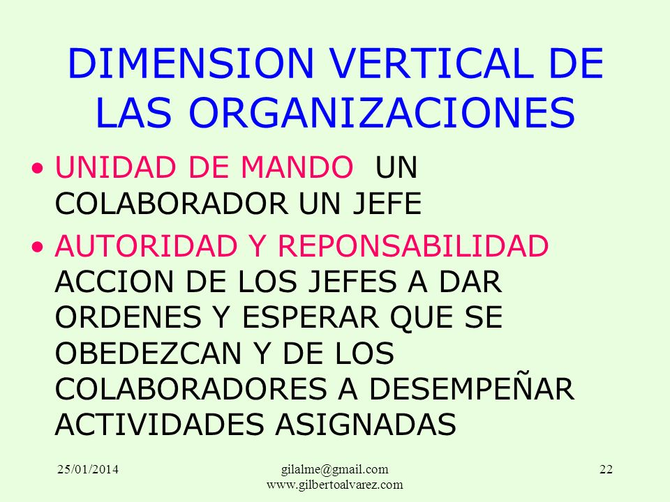 DIMENSION VERTICAL DE LAS ORGANIZACIONES