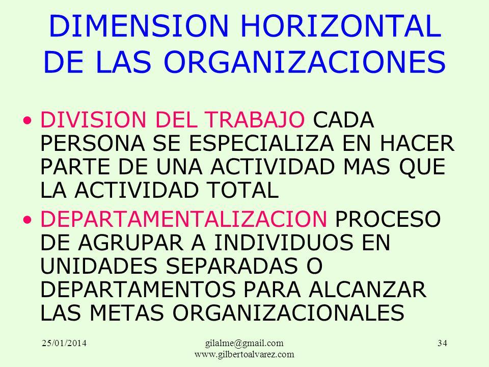 DIMENSION HORIZONTAL DE LAS ORGANIZACIONES