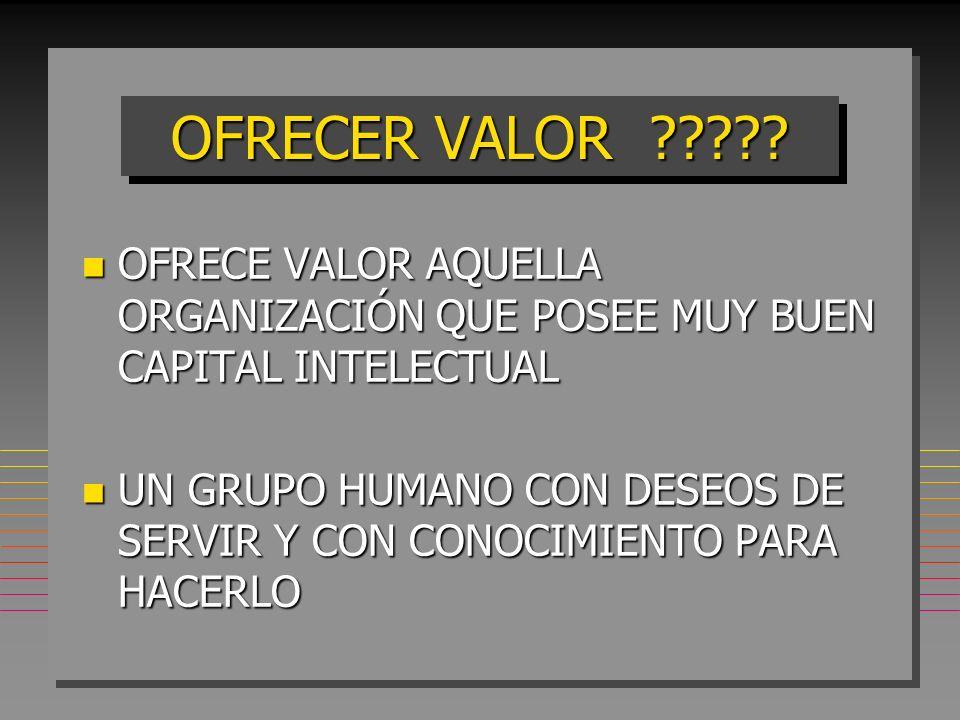 OFRECER VALOR OFRECE VALOR AQUELLA ORGANIZACIÓN QUE POSEE MUY BUEN CAPITAL INTELECTUAL.