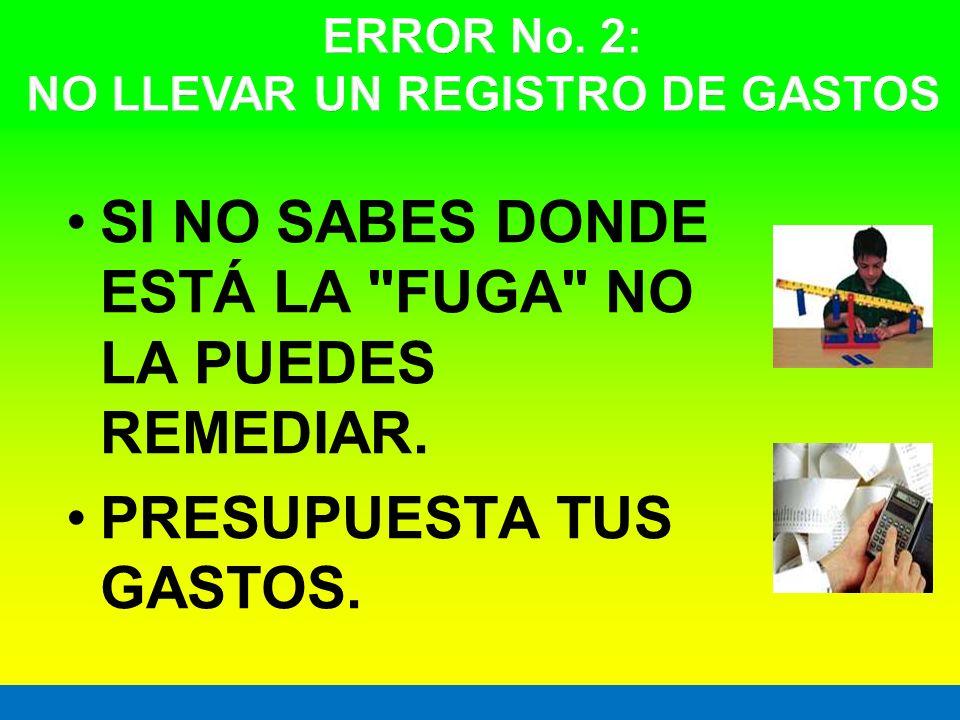 ERROR No. 2: NO LLEVAR UN REGISTRO DE GASTOS