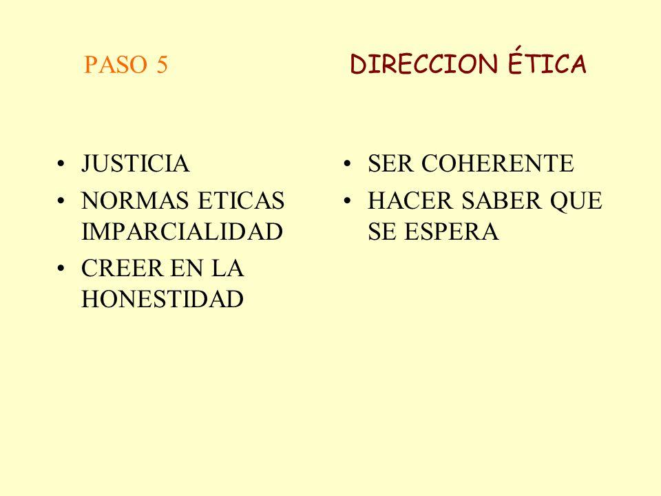 PASO 5 DIRECCION ÉTICAJUSTICIA. NORMAS ETICAS IMPARCIALIDAD. CREER EN LA HONESTIDAD.