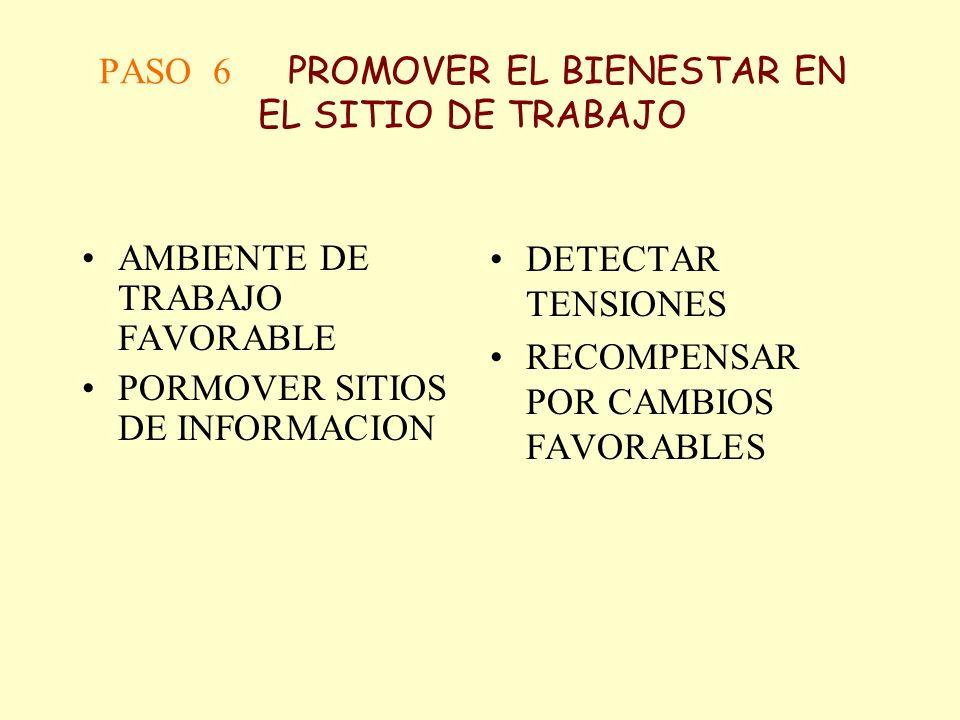 PASO 6 PROMOVER EL BIENESTAR EN EL SITIO DE TRABAJO