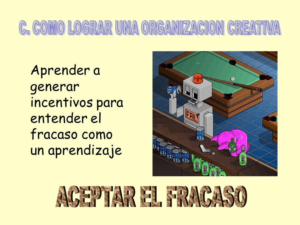C. COMO LOGRAR UNA ORGANIZACION CREATIVA