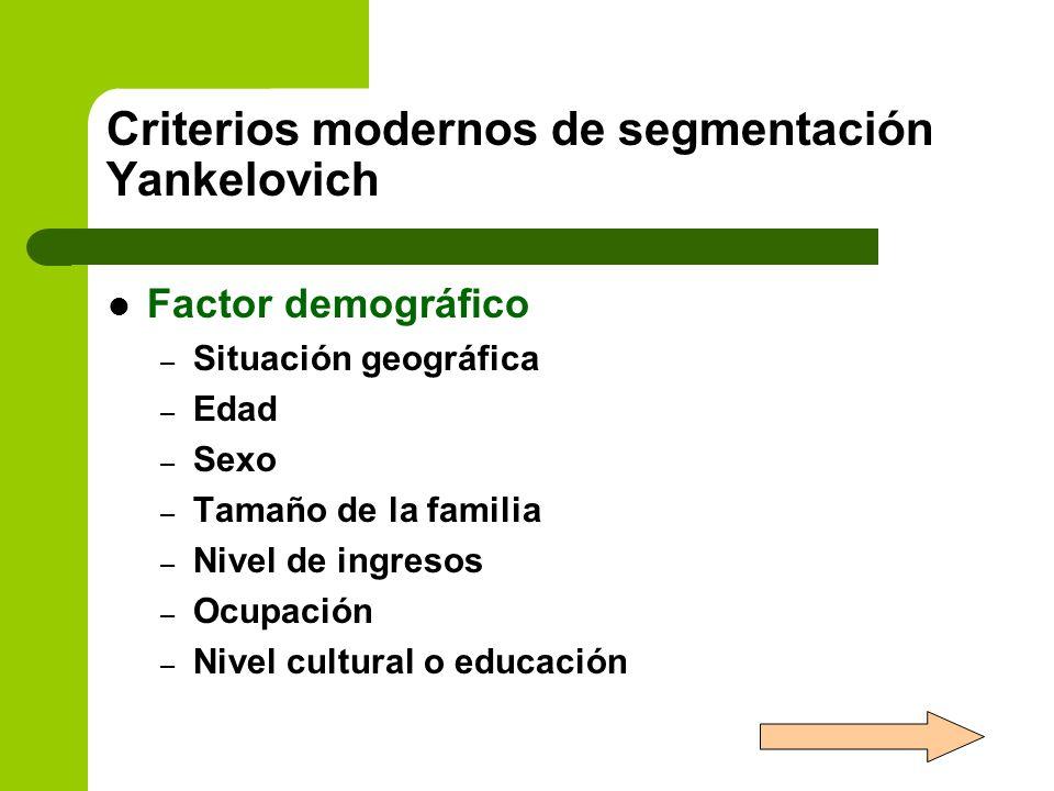 Criterios modernos de segmentación Yankelovich