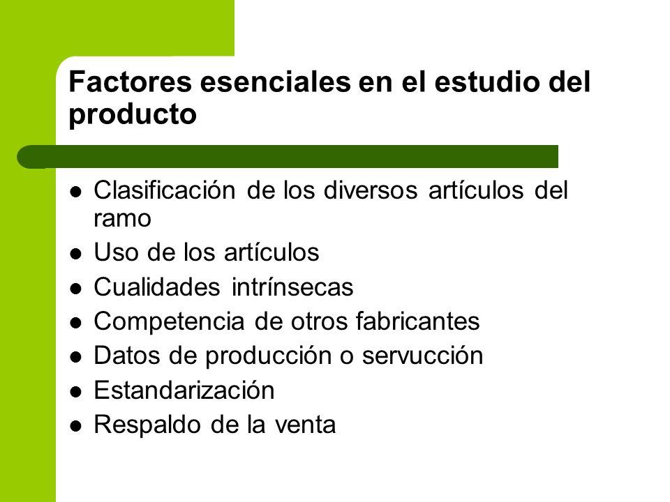 Factores esenciales en el estudio del producto