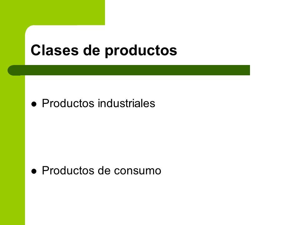 Clases de productos Productos industriales Productos de consumo