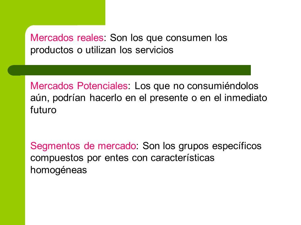 Mercados reales: Son los que consumen los productos o utilizan los servicios