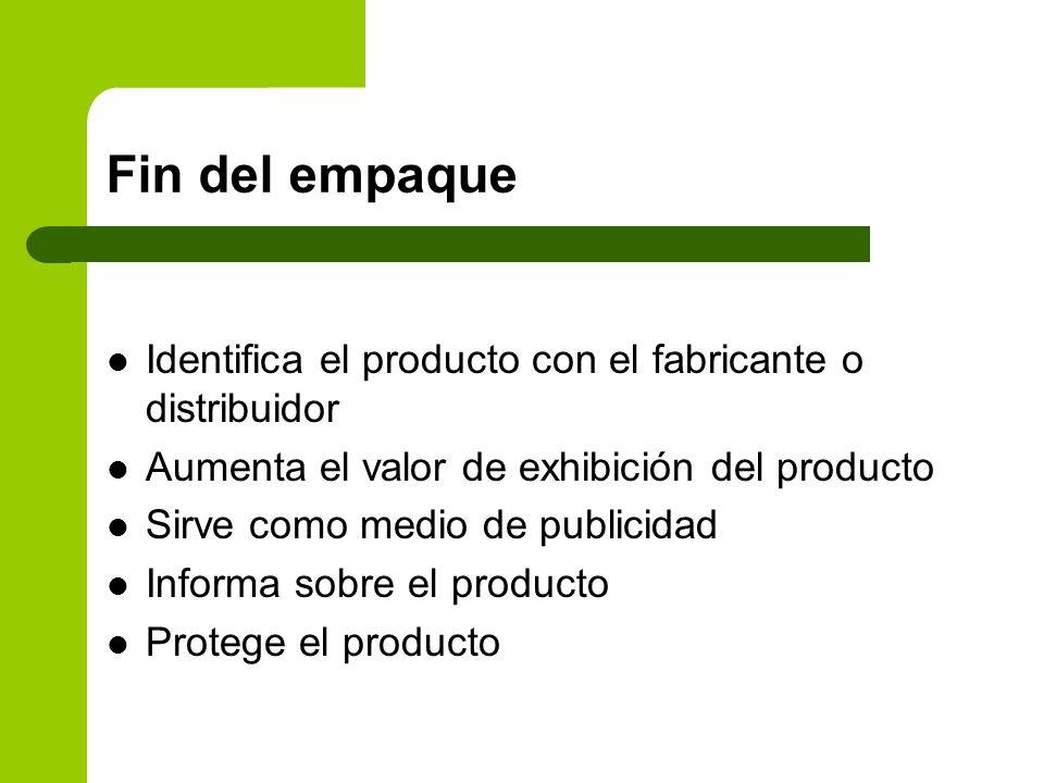Fin del empaque Identifica el producto con el fabricante o distribuidor. Aumenta el valor de exhibición del producto.