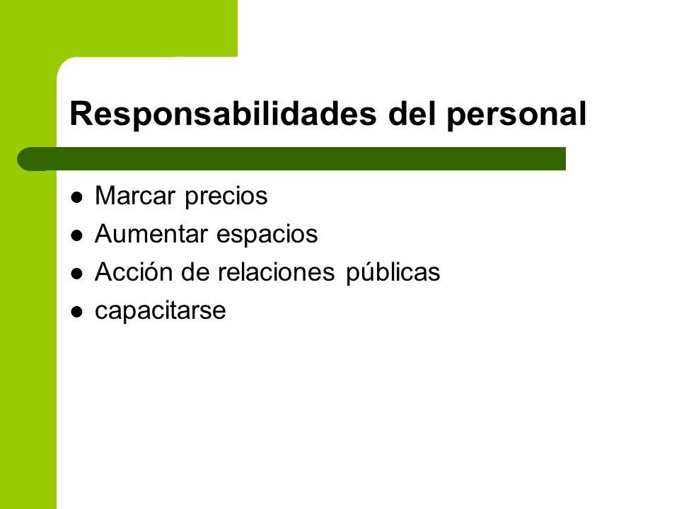 Responsabilidades del personal