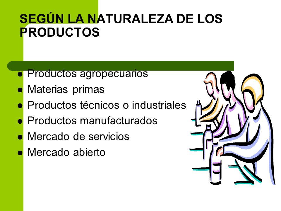 SEGÚN LA NATURALEZA DE LOS PRODUCTOS