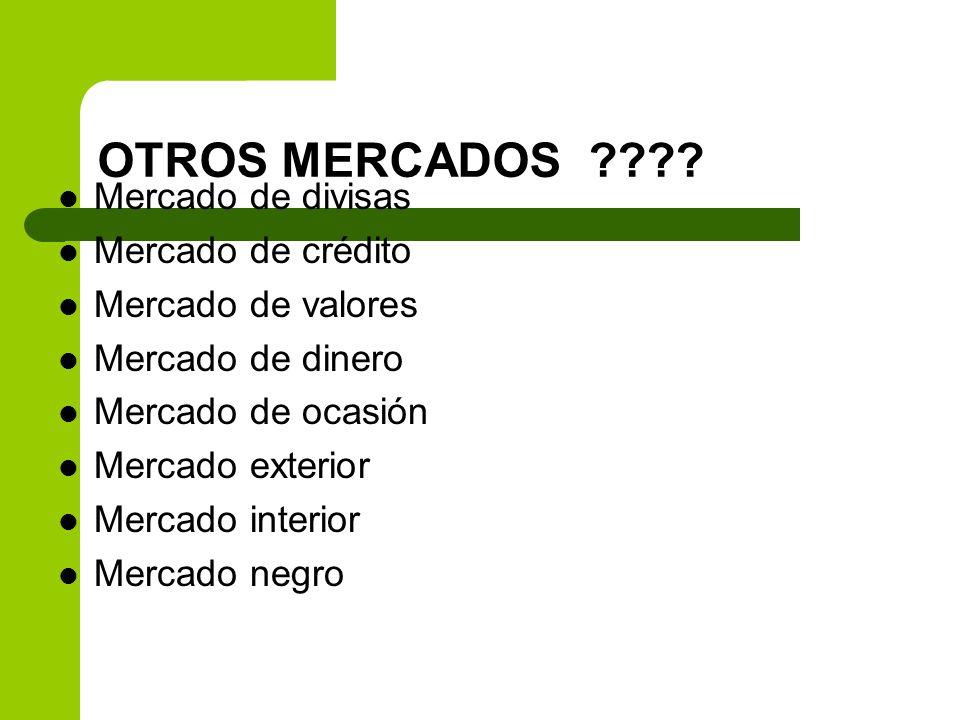 OTROS MERCADOS Mercado de divisas Mercado de crédito