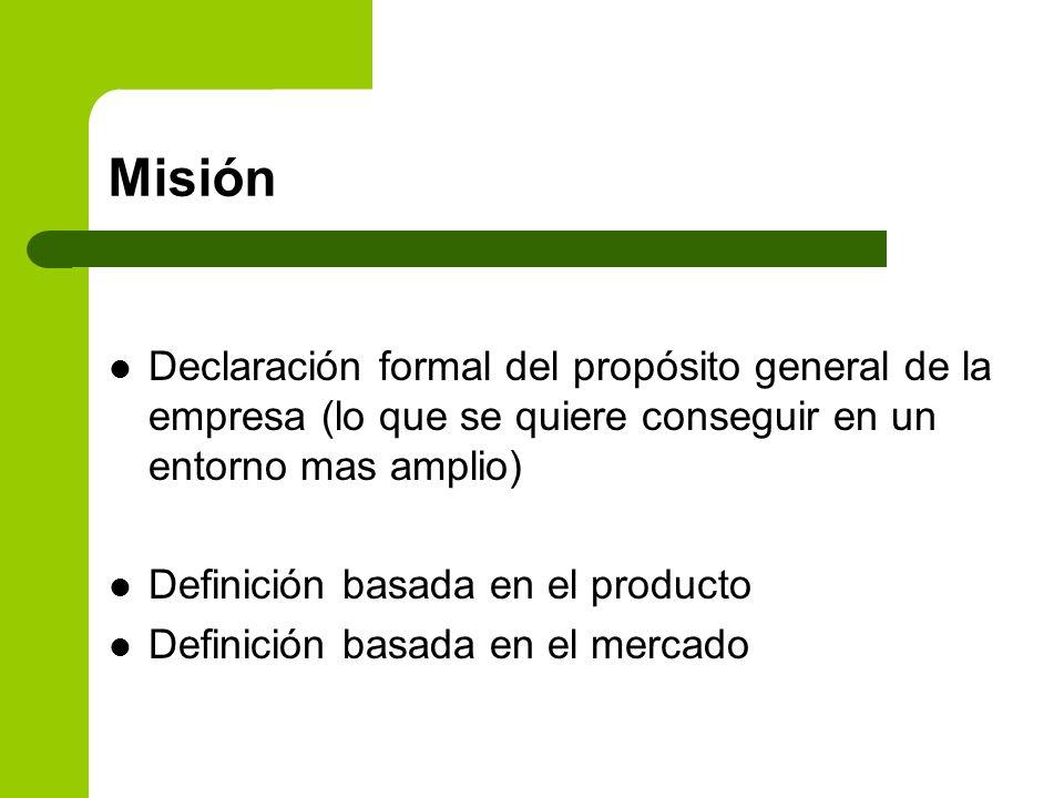Misión Declaración formal del propósito general de la empresa (lo que se quiere conseguir en un entorno mas amplio)