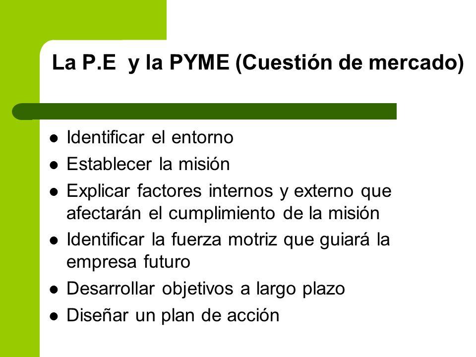 La P.E y la PYME (Cuestión de mercado)