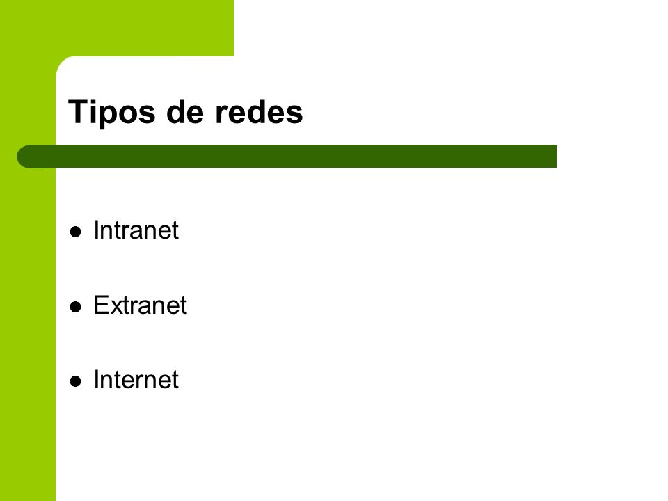 Tipos de redes Intranet Extranet Internet