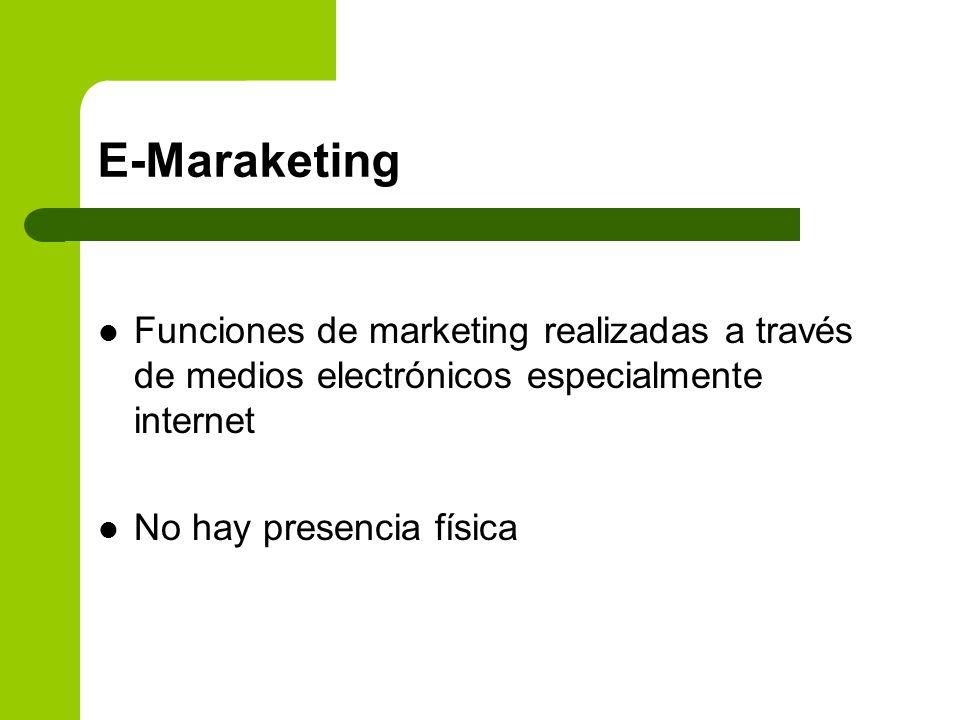 E-MaraketingFunciones de marketing realizadas a través de medios electrónicos especialmente internet.