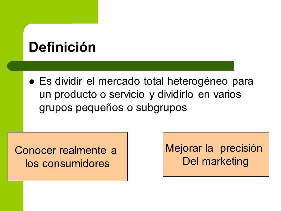 Definición Es dividir el mercado total heterogéneo para un producto o servicio y dividirlo en varios grupos pequeños o subgrupos.