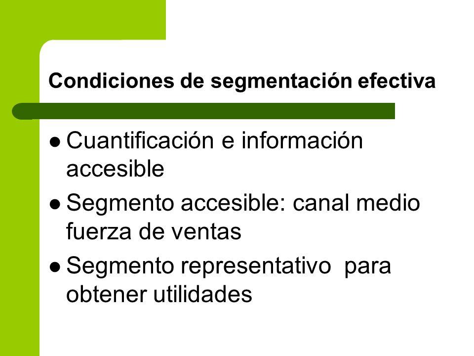 Condiciones de segmentación efectiva