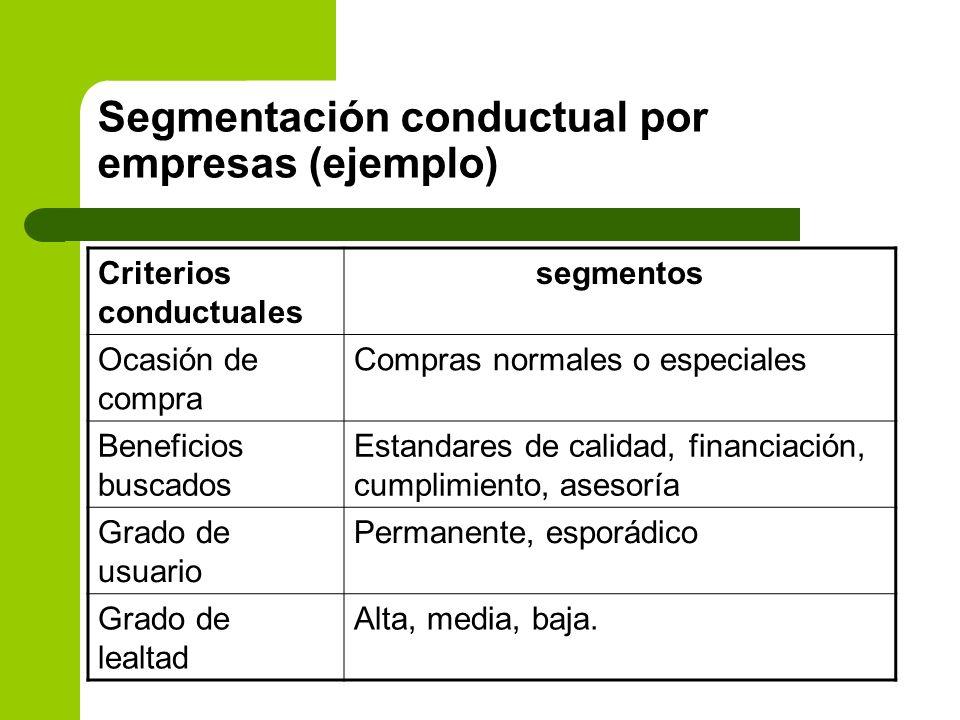 Segmentación conductual por empresas (ejemplo)