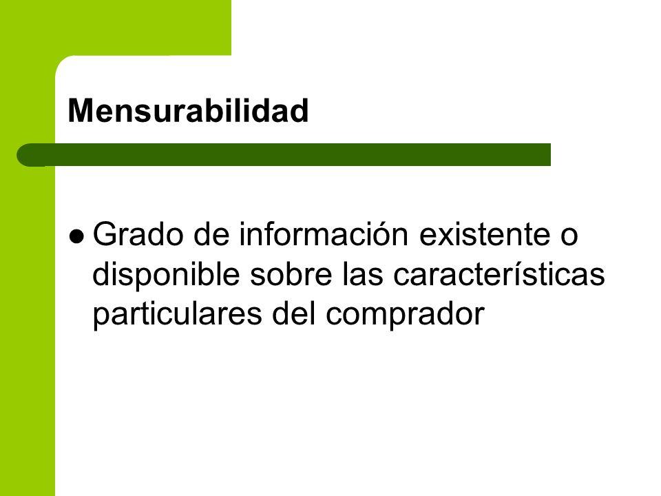 Mensurabilidad Grado de información existente o disponible sobre las características particulares del comprador.