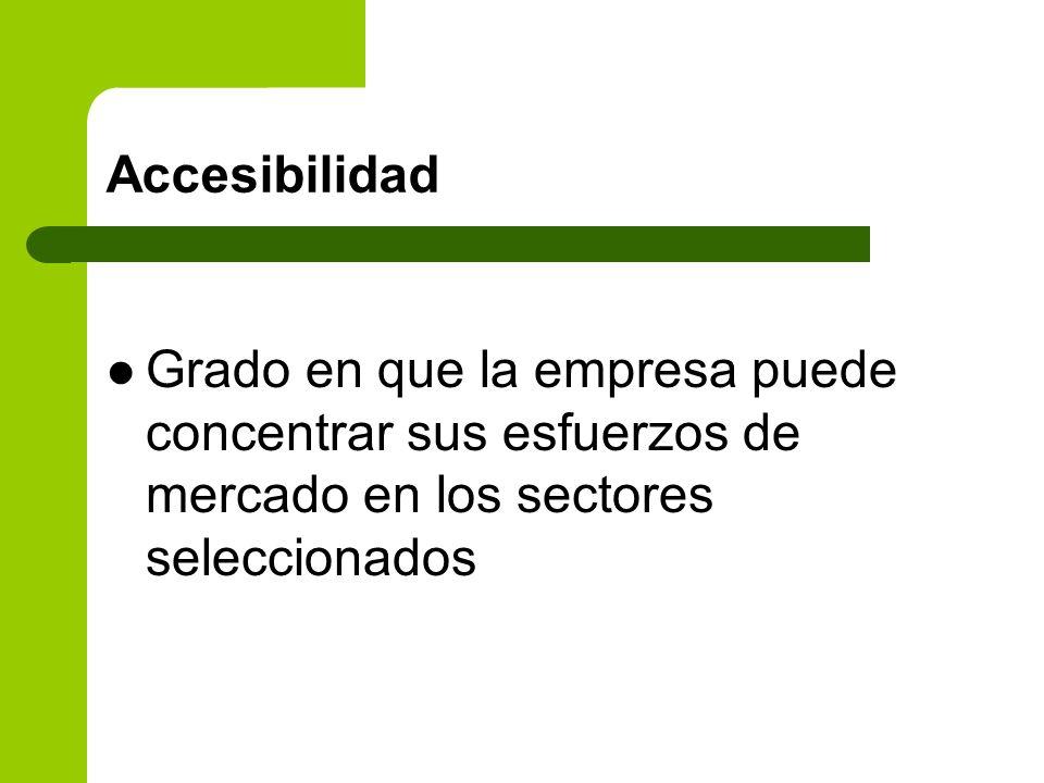 Accesibilidad Grado en que la empresa puede concentrar sus esfuerzos de mercado en los sectores seleccionados.