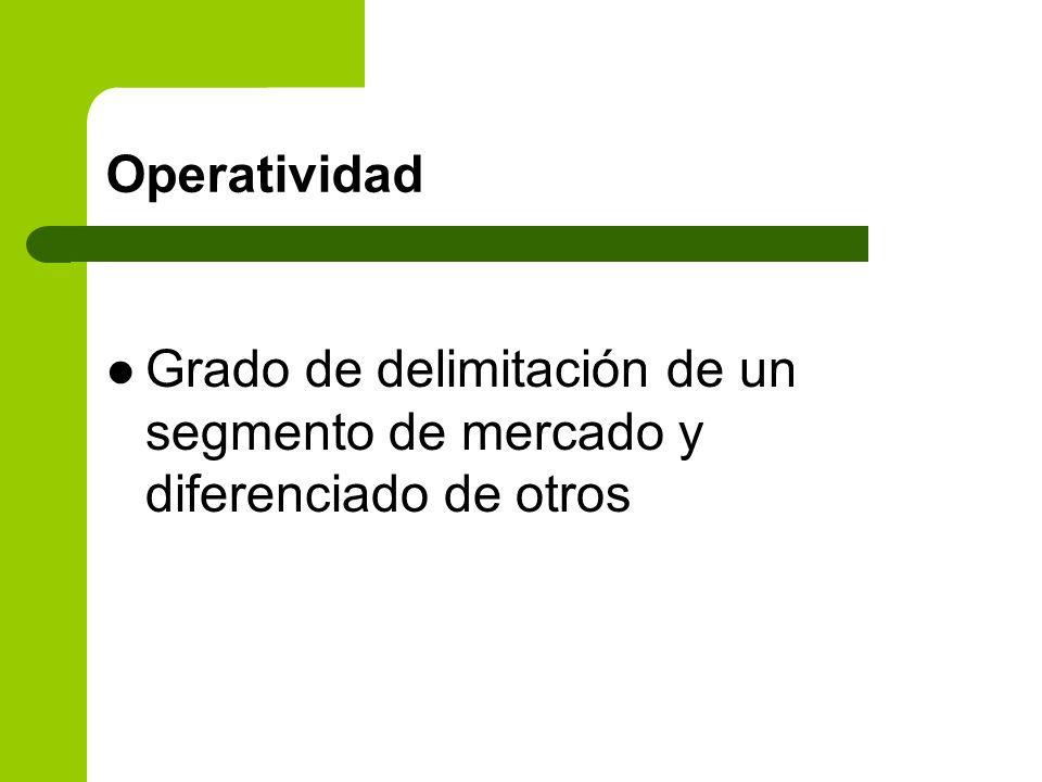Operatividad Grado de delimitación de un segmento de mercado y diferenciado de otros