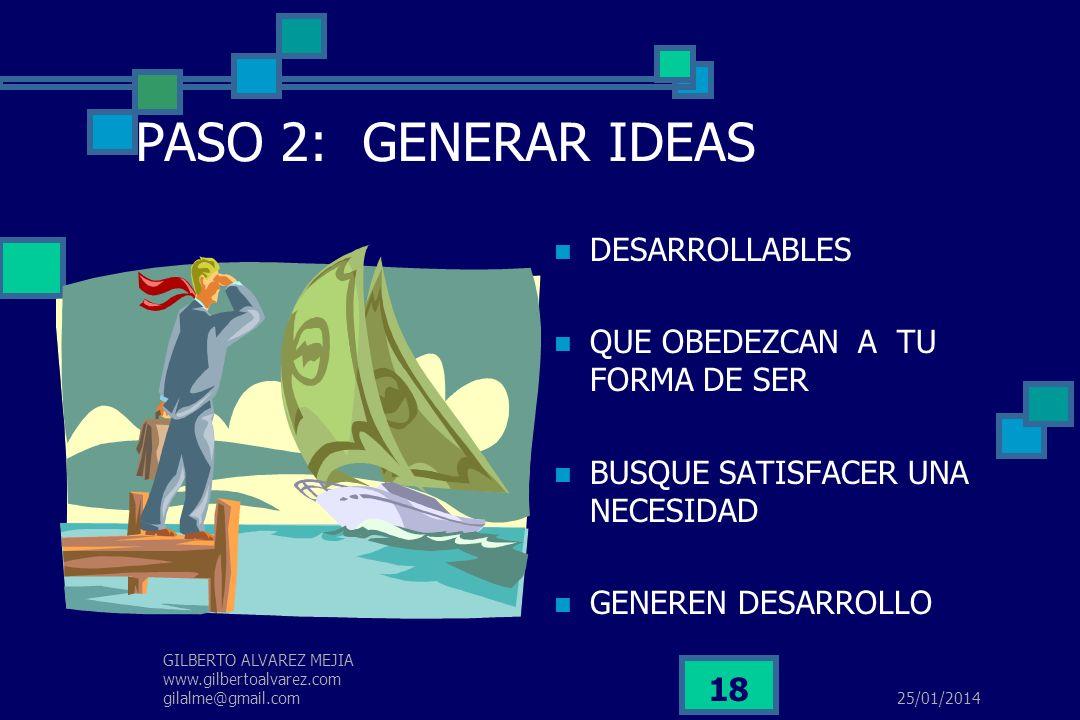 PASO 2: GENERAR IDEAS DESARROLLABLES QUE OBEDEZCAN A TU FORMA DE SER