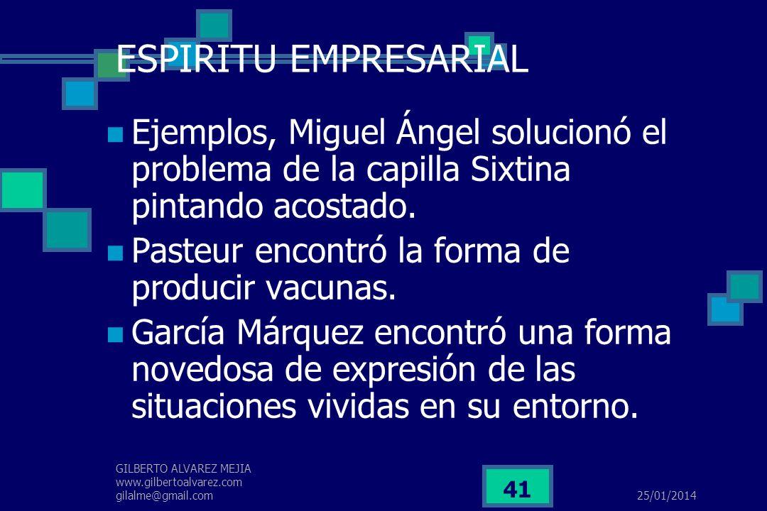 ESPIRITU EMPRESARIALEjemplos, Miguel Ángel solucionó el problema de la capilla Sixtina pintando acostado.