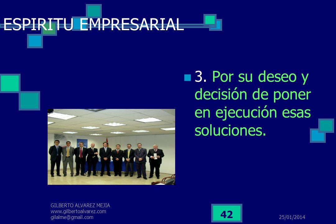 ESPIRITU EMPRESARIAL 3. Por su deseo y decisión de poner en ejecución esas soluciones.