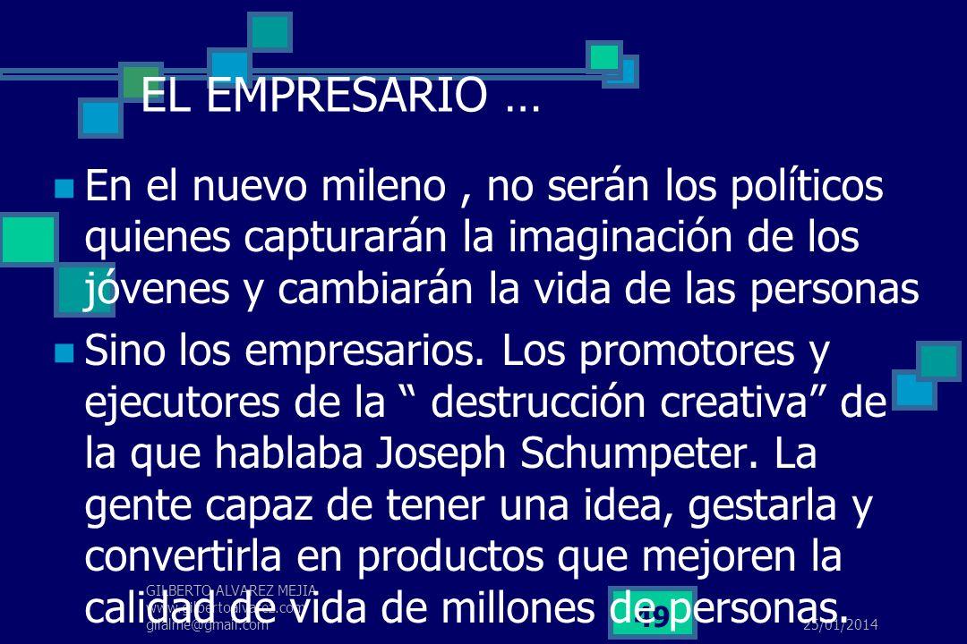 EL EMPRESARIO …En el nuevo mileno , no serán los políticos quienes capturarán la imaginación de los jóvenes y cambiarán la vida de las personas.