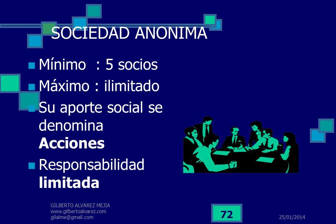 SOCIEDAD ANONIMA Mínimo : 5 socios Máximo : ilimitado