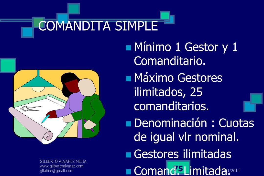 COMANDITA SIMPLE Mínimo 1 Gestor y 1 Comanditario.