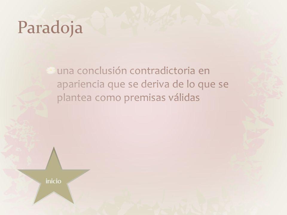 Paradoja una conclusión contradictoria en apariencia que se deriva de lo que se plantea como premisas válidas.