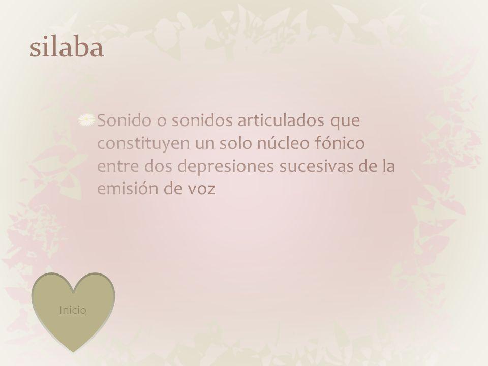 silaba Sonido o sonidos articulados que constituyen un solo núcleo fónico entre dos depresiones sucesivas de la emisión de voz.