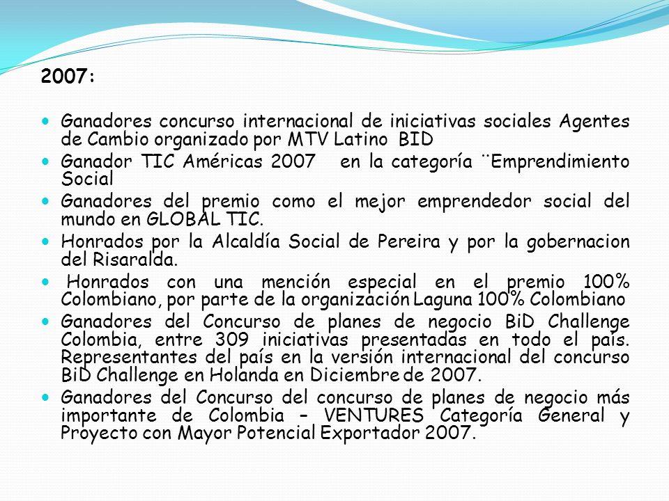2007: Ganadores concurso internacional de iniciativas sociales Agentes de Cambio organizado por MTV Latino BID.