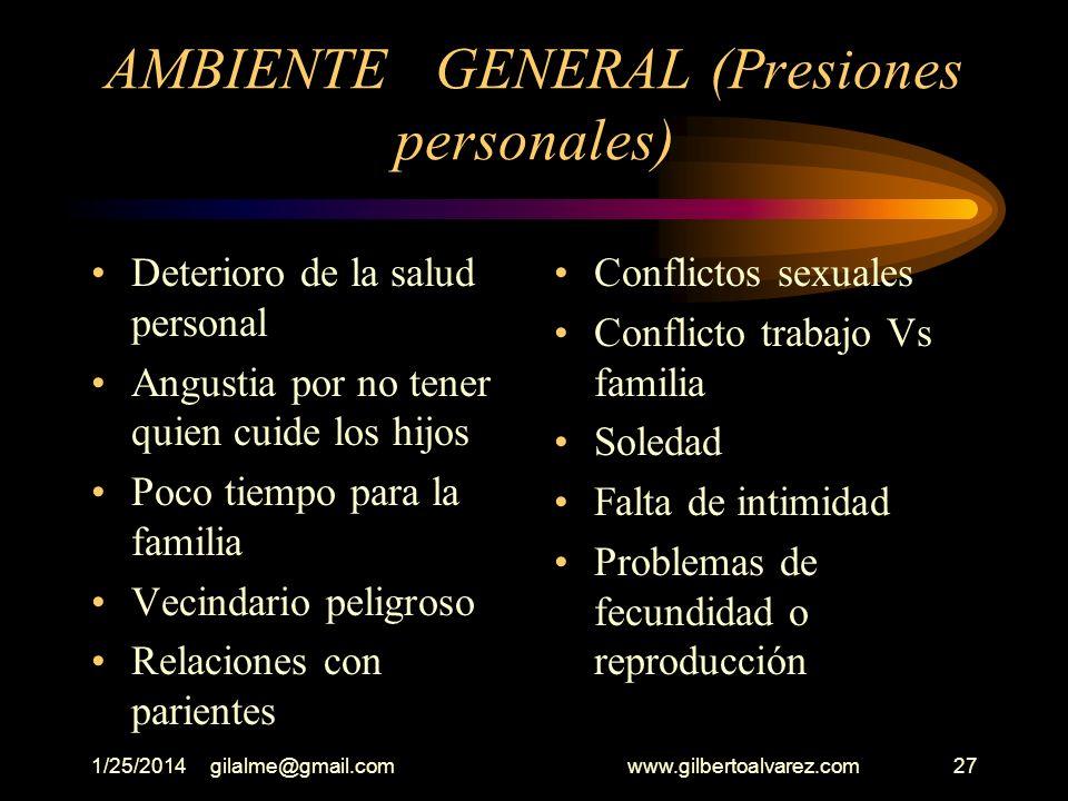 AMBIENTE GENERAL (Presiones personales)