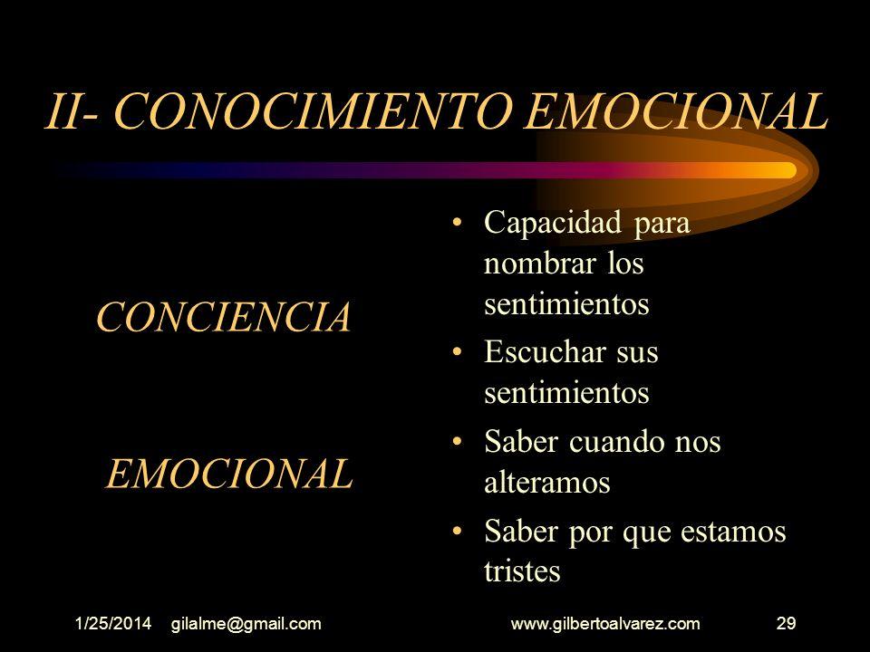 II- CONOCIMIENTO EMOCIONAL