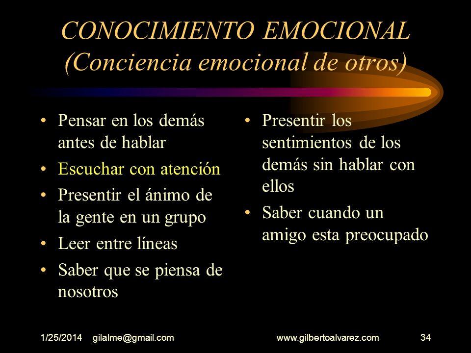 CONOCIMIENTO EMOCIONAL (Conciencia emocional de otros)