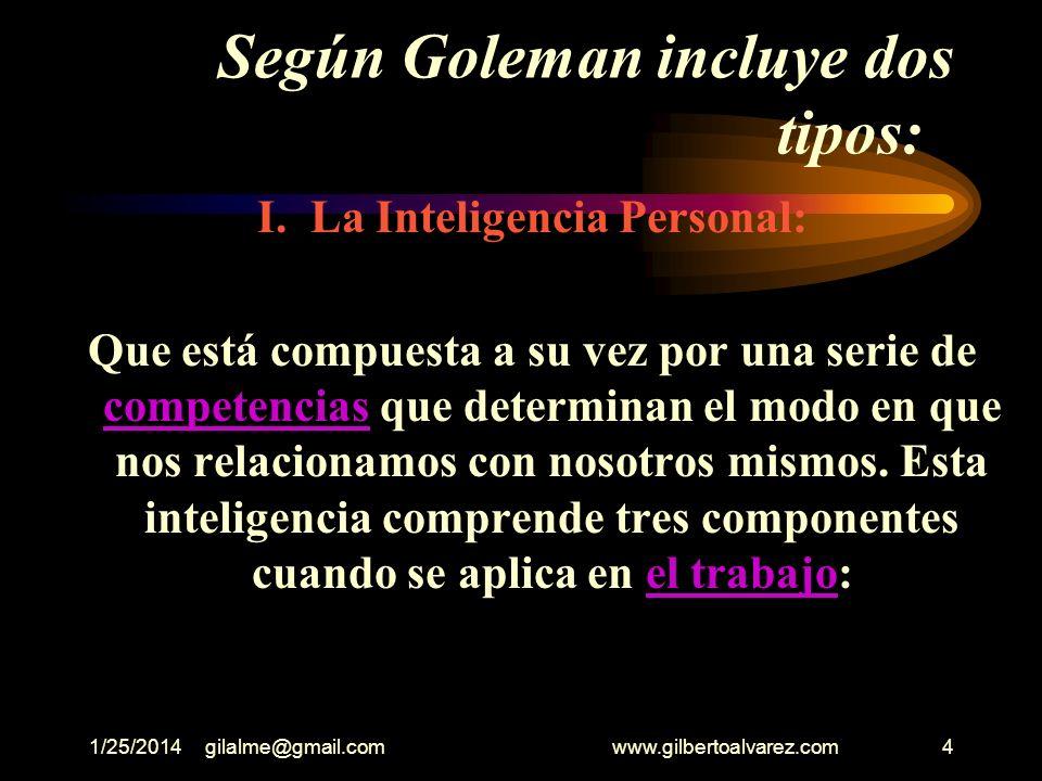 Según Goleman incluye dos tipos:
