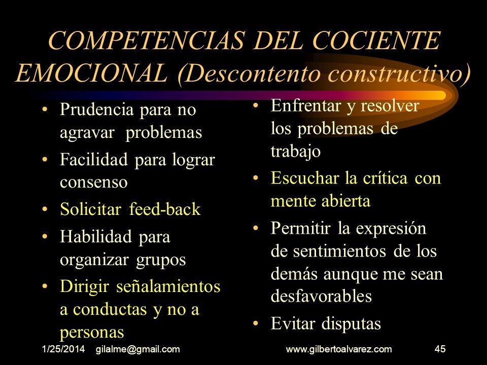 COMPETENCIAS DEL COCIENTE EMOCIONAL (Descontento constructivo)