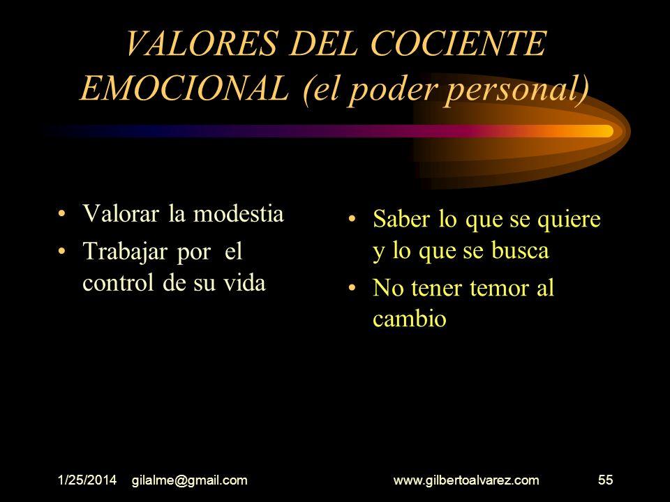 VALORES DEL COCIENTE EMOCIONAL (el poder personal)