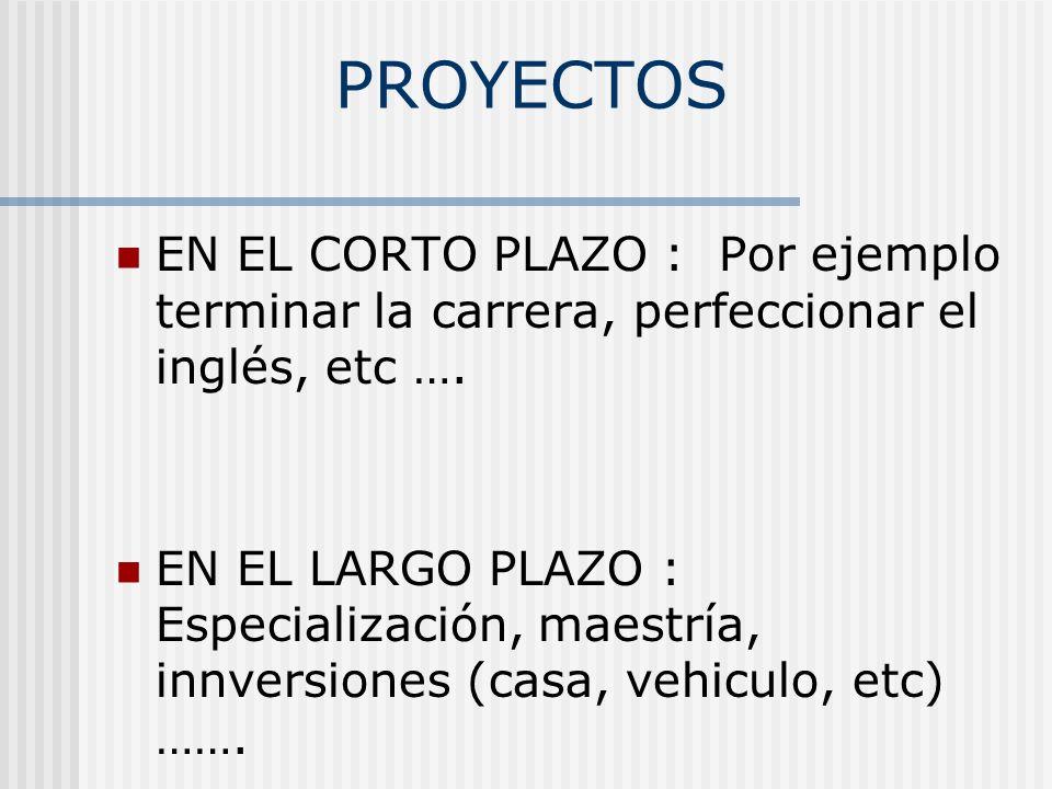 PROYECTOS EN EL CORTO PLAZO : Por ejemplo terminar la carrera, perfeccionar el inglés, etc ….