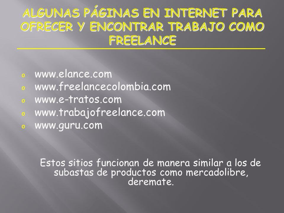 ALGUNAS PÁGINAS EN INTERNET PARA OFRECER Y ENCONTRAR TRABAJO COMO FREELANCE